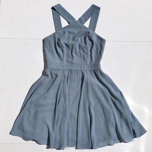 Lulu's Forevermore Slate Blue Skater Dress sz S